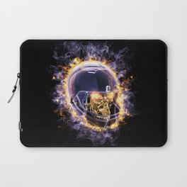fire football helmet with fire eyes skull on a black background Laptop Sleeve