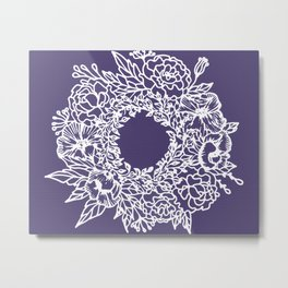 White Flowery Linocut Wreath On Checked UltraViolet Metal Print