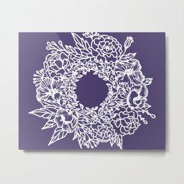 White Flowery Linocut Wreath On Checked UltraViolet Metal Print