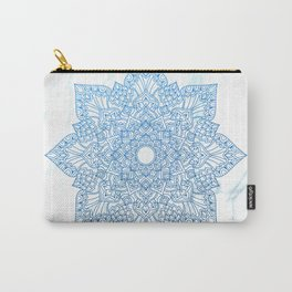 Blue flower mandala - marble Carry-All Pouch