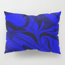 Black and Blue Swirl - Abstract, blue and black mixed paint pattern texture Pillow Sham