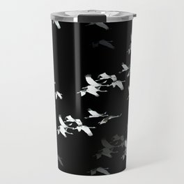 Abstract Black and White Crane Flock #decor #society6 Travel Mug