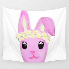 Bunny in a Flower Crown.  Wall Tapestry