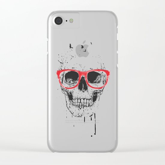 Skull with red glasses Clear iPhone Case