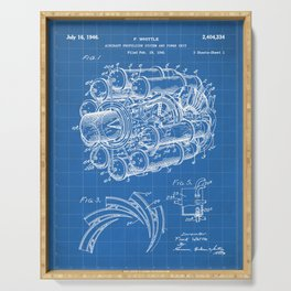 Airplane Jet Engine Patent - Airline Engine Art - Blueprint Serving Tray