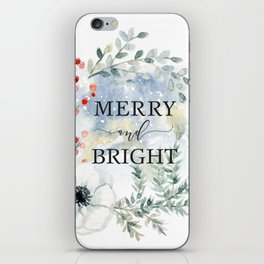 Merry and bright. Christmas wreath iPhone Skin