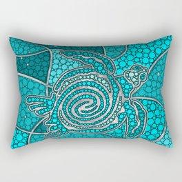 Turtle Aboriginal Dot Art Teal and silver Rectangular Pillow