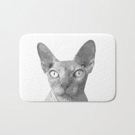 Black and White Sphynx Cat Bath Mat