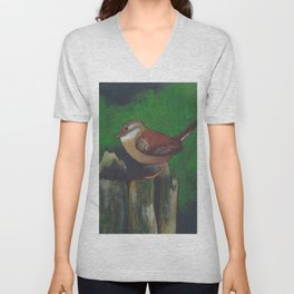 bird on a log Unisex V-Neck