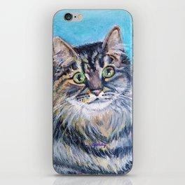 Munchkin tabby cat portrait iPhone Skin
