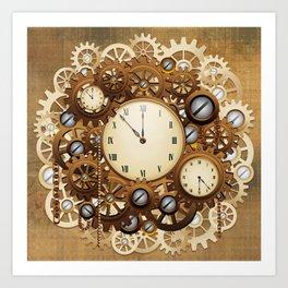 Steampunk Vintage Style Clocks and Gears Art Print
