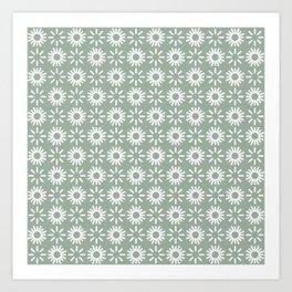 Poppy Olive Green Art Print