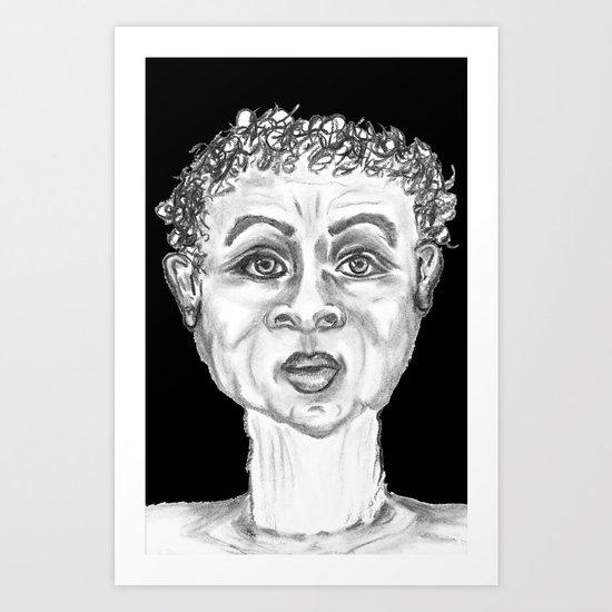 CHARCOAL FUNNY GUY BLACK BACKGROUND Art Print
