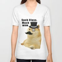 doge V-neck T-shirts featuring Classy Doge by Tayler Smith
