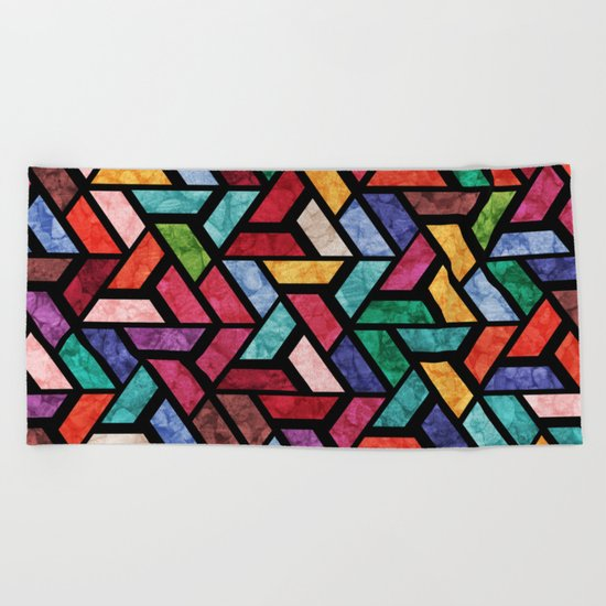 Seamless Colorful Geometric Pattern VII Beach Towel