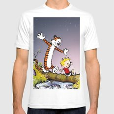 Calvin and Hobbes White Mens Fitted Tee MEDIUM