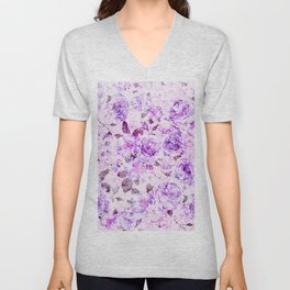 Blush pink lavender elegant vintage bohemian floral Unisex V-Neck
