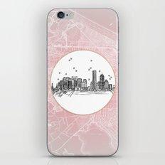 Boston, Massachusetts City Skyline Illustration Drawing iPhone & iPod Skin