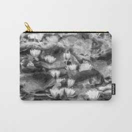 Water Lilys Monochrome Art Carry-All Pouch