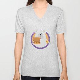 Polar Bear with Pizza in cirlce Unisex V-Neck