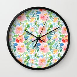 Busy Watercolour Floral Wall Clock