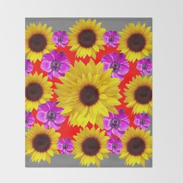 RED-GREY PURPLE FLOWERS & SUNFLOWERS DECO ART Throw Blanket
