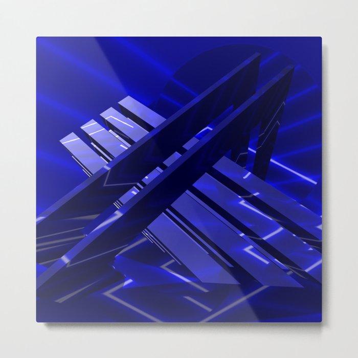 GEO PLLUS 03 deep blue Metal Print