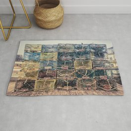 Lobster Traps Kennebunkport Maine Fisherman Dock Wharf New England Atlantic Rug