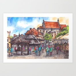 Town view ink & watercolor illustration Kazimierz Dolny Poland Art Print