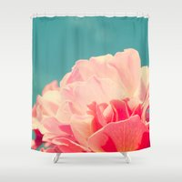 shabby chic Shower Curtains featuring Shabby Chic Rose Photograph by Scarlett Ella
