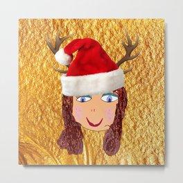 Gold Christmas | Kids Painting | Christmas Spirit Metal Print