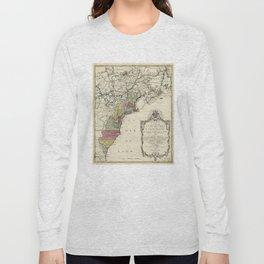 Colonial America Map by Matthaus Lotter (1776) Long Sleeve T-shirt
