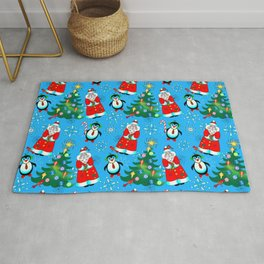 Santa and Penguins Rug