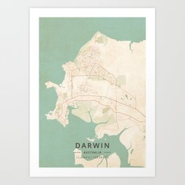 Darwin, Australia - Vintage Map Art Print