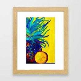 Blue Pineapple Abstract Framed Art Print