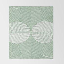 Minimal Tropical Leaves Pastel Green Throw Blanket