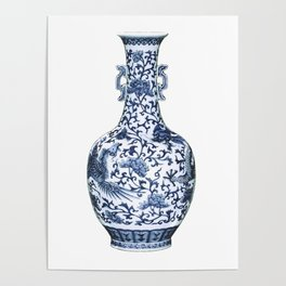 Blue & White Chinoiserie Porcelain Floral Vase with Flying Phoenix Poster
