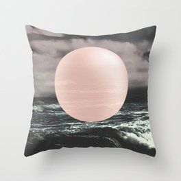 Marble Moon waves Throw Pillow
