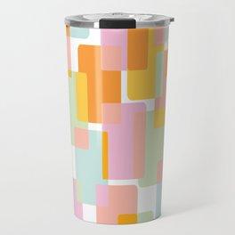 Pastel Geometric Shape Collage Travel Mug