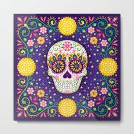 Sugar Skull with Flowers - Art by Thaneeya McArdle Metal Print