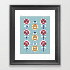 Scandinavian inspired flower pattern - blue background Framed Art Print