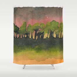 The Woods I Pink Shower Curtain