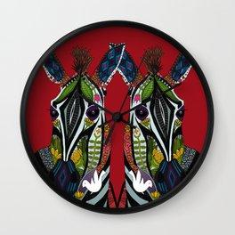 zebra love red Wall Clock