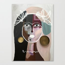 goddess of the candle lid earrings and also the world Canvas Print