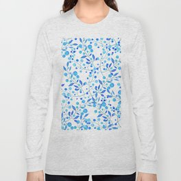 Modern hand painted teal blue watercolor floral pattern Long Sleeve T-shirt