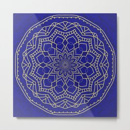 Mandala - blue and gold 1 Metal Print