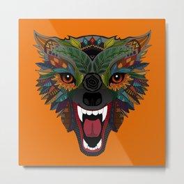 wolf fight flight orange Metal Print