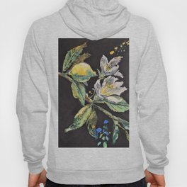 Branch with White Lemon Flowers and Yellow Fruit. Hoody
