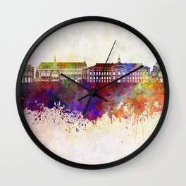 Liege skyline in watercolor background Wall Clock