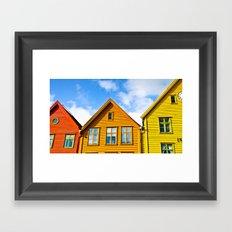 Norwegian houses. Scandinavia. Framed Art Print